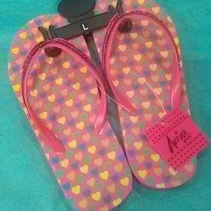 ❤Girl's Heart Flip Flops by Aviva Girls  NWT! Sz L